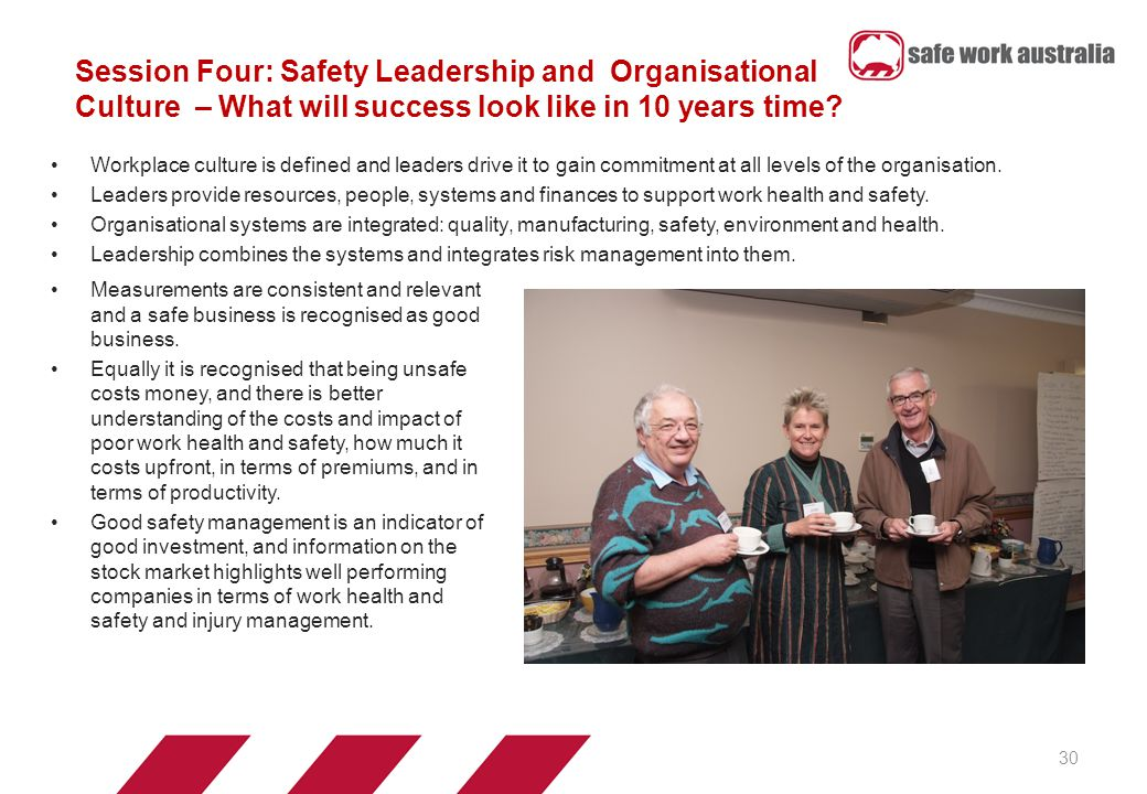 Session Four: Safety Leadership and Organisational Culture – What will success look like in 10 years time.