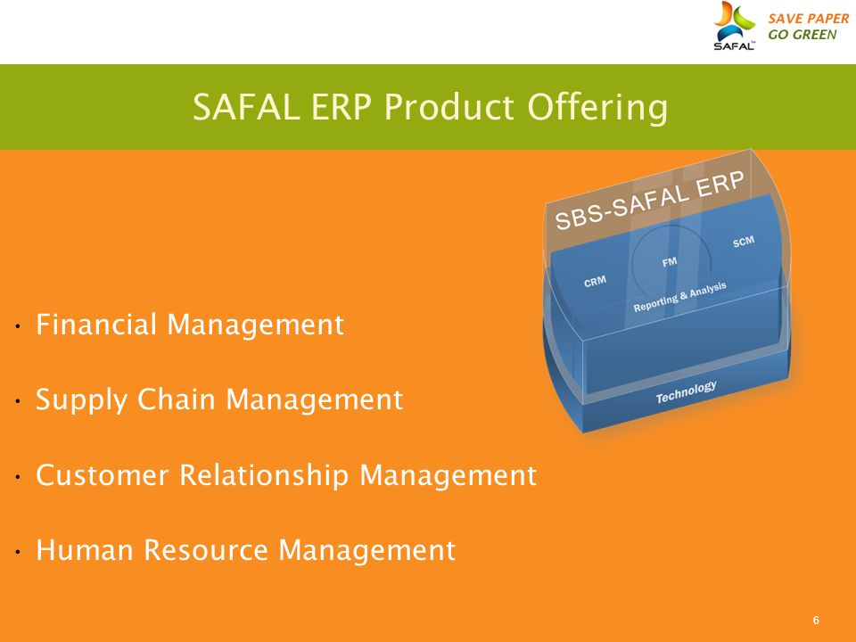 6 SAFAL ERP Product Offering Financial Management Supply Chain Management Customer Relationship Management Human Resource Management