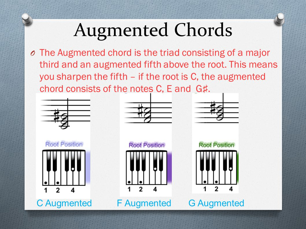 Augmented Chords O The Augmented chord is the triad consisting of a major third and an augmented fifth above the root. This means you sharpen the fift