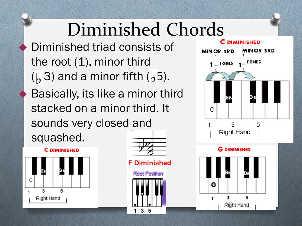 Diminished Chords  Diminished triad consists of the root (1), minor third ( 3) and a minor fifth ( 5).  Basically, its like a minor third stacked on