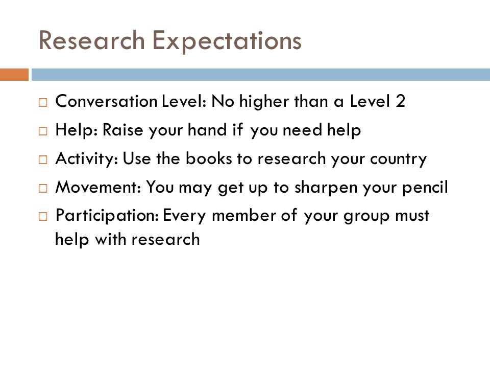 Research Expectations  Conversation Level: No higher than a Level 2  Help: Raise your hand if you need help  Activity: Use the books to research your country  Movement: You may get up to sharpen your pencil  Participation: Every member of your group must help with research