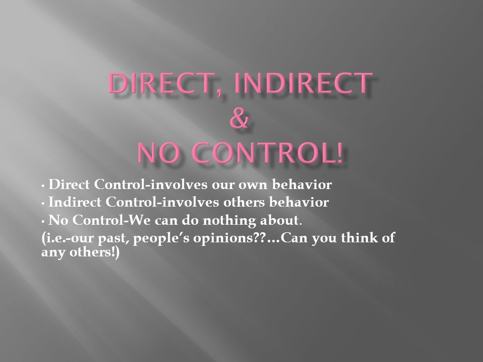 Direct Control-involves our own behavior Indirect Control-involves others behavior No Control-We can do nothing about.