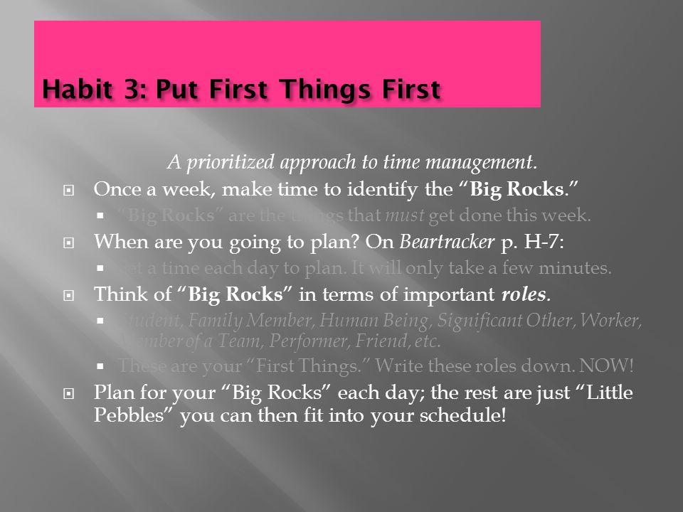 Habit 3: Put First Things First A prioritized approach to time management.