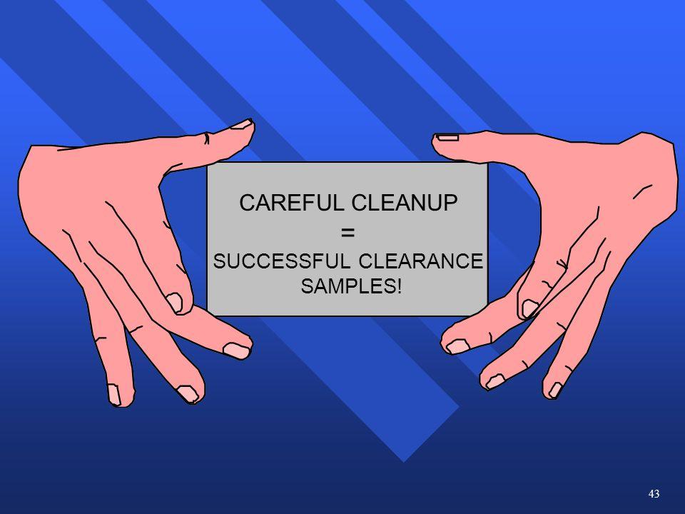CAREFUL CLEANUP = SUCCESSFUL CLEARANCE SAMPLES! 43