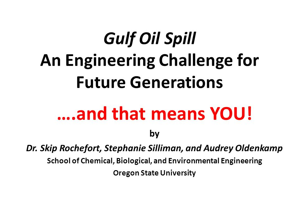 Gulf Oil Spill An Engineering Challenge for Future Generations ….and that means YOU.