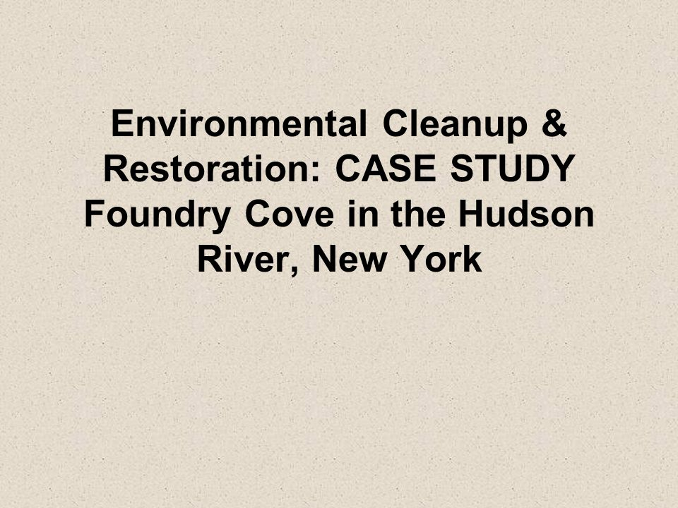 Environmental Cleanup & Restoration: CASE STUDY Foundry Cove in the Hudson River, New York