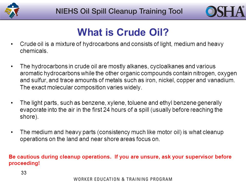 What is Crude Oil? Crude oil is a mixture of hydrocarbons and consists of light, medium and heavy chemicals. The hydrocarbons in crude oil are mostly
