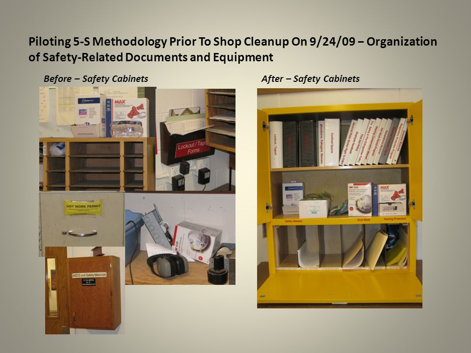 Piloting 5-S Methodology Prior To Shop Cleanup On 9/24/09 − Organization of Safety-Related Documents and Equipment After – Safety CabinetsBefore – Safety Cabinets