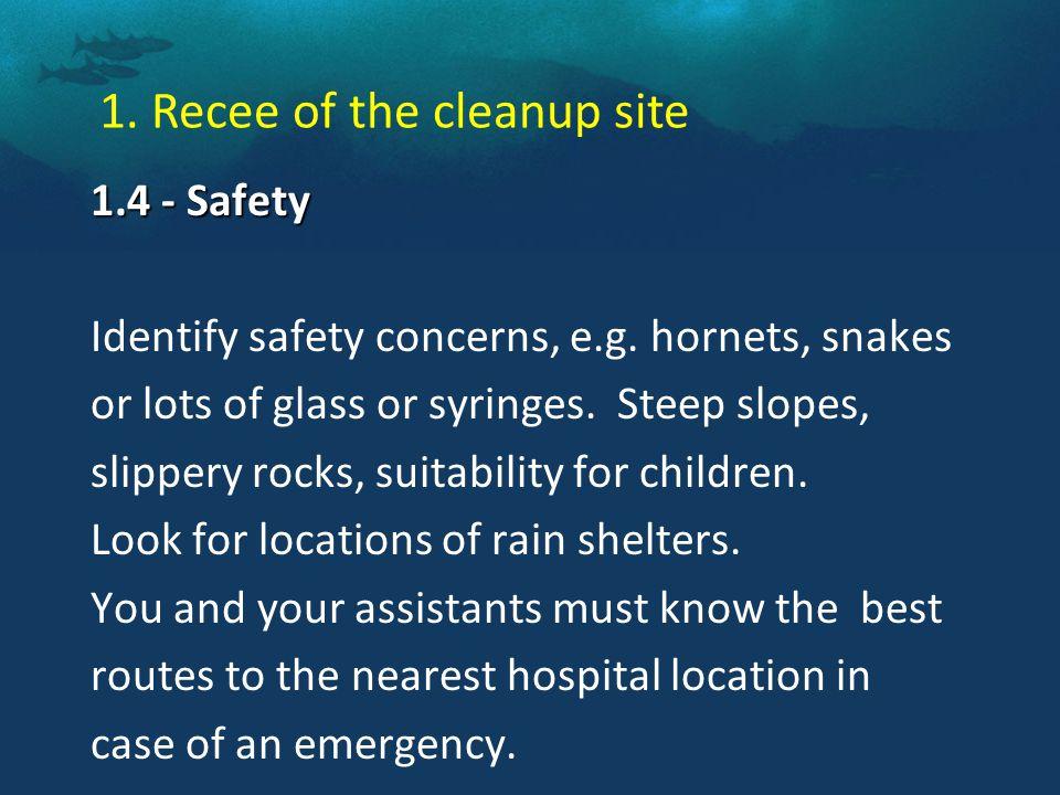 1.4 - Safety 1.4 - Safety Identify safety concerns, e.g.