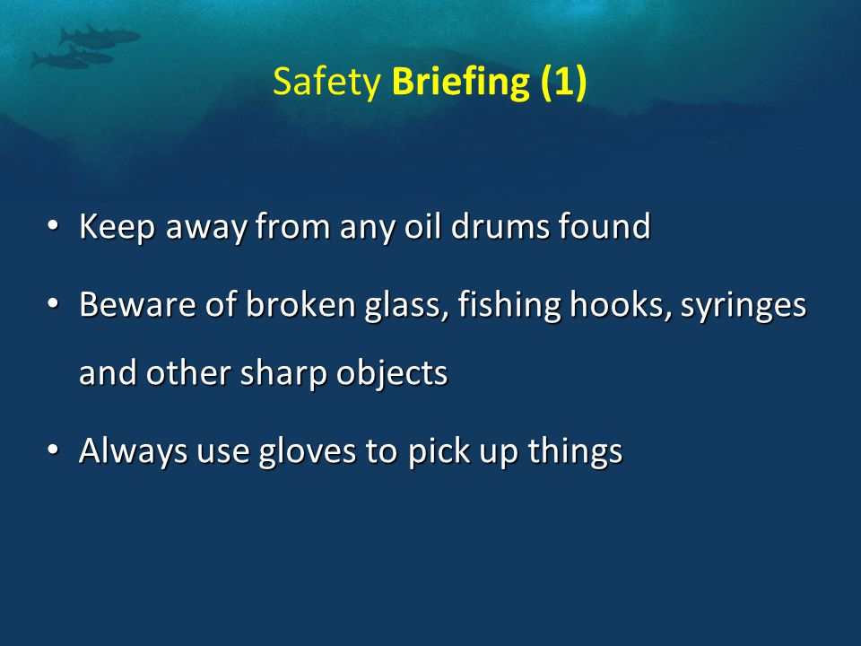 Safety Briefing (1) Keep away from any oil drums found Keep away from any oil drums found Beware of broken glass, fishing hooks, syringes and other sharp objects Beware of broken glass, fishing hooks, syringes and other sharp objects Always use gloves to pick up things Always use gloves to pick up things
