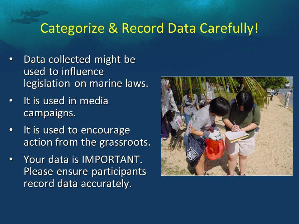 Categorize & Record Data Carefully.