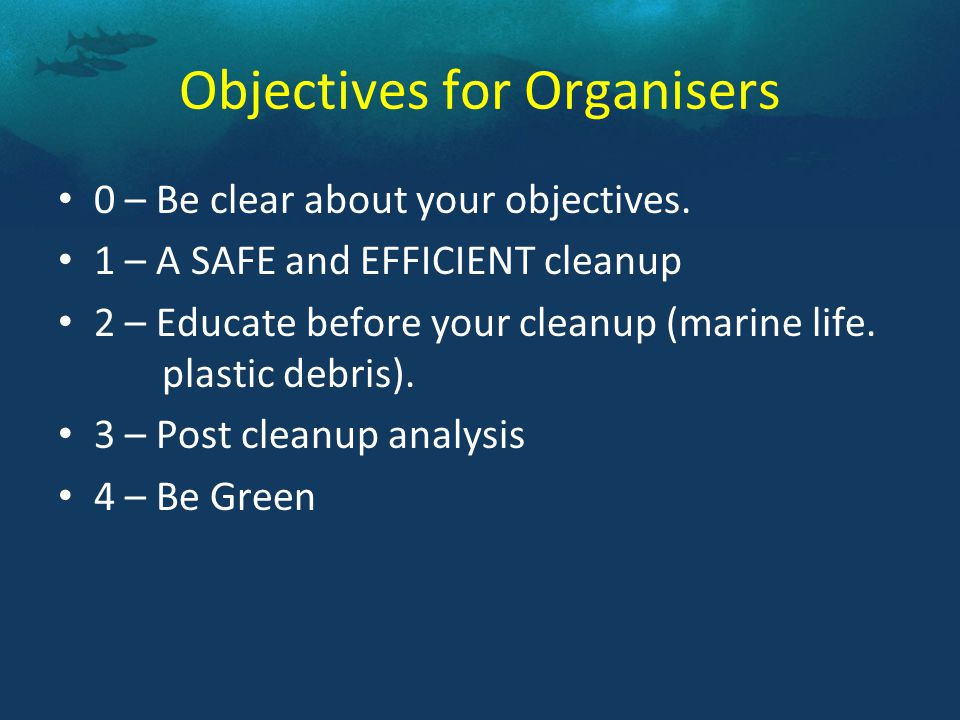 1.Recce of cleanup site 2.Register and brief participants 3.Logistics 4.Transport 5.Data Collection 6.Communication 1.Recce of cleanup site 2.Register and brief participants 3.Logistics 4.Transport 5.Data Collection 6.Communication How does an Organiser prepare?