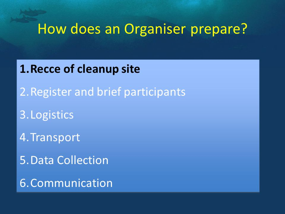 The SITE RECCE is a critical step before cleanup to evaluate the actual situation as this influences how you manage your cleanup and allows you to address safety issues.