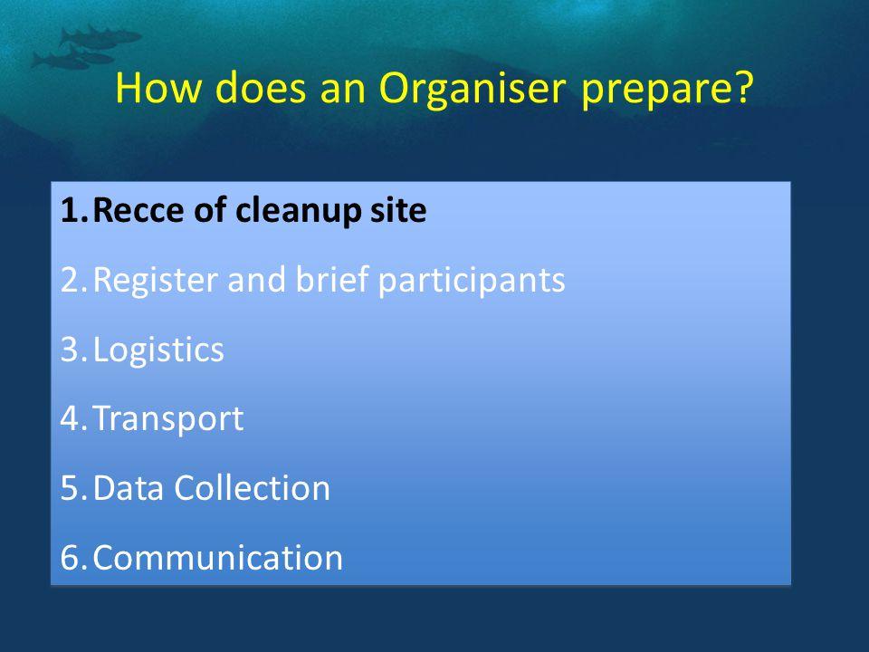 How does an Organiser prepare.
