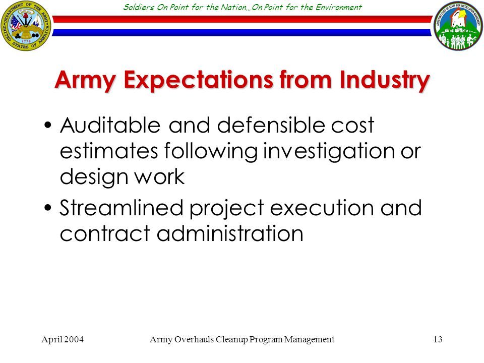 Soldiers On Point for the Nation…On Point for the Environment April 2004Army Overhauls Cleanup Program Management13 Army Expectations from Industry Auditable and defensible cost estimates following investigation or design work Streamlined project execution and contract administration