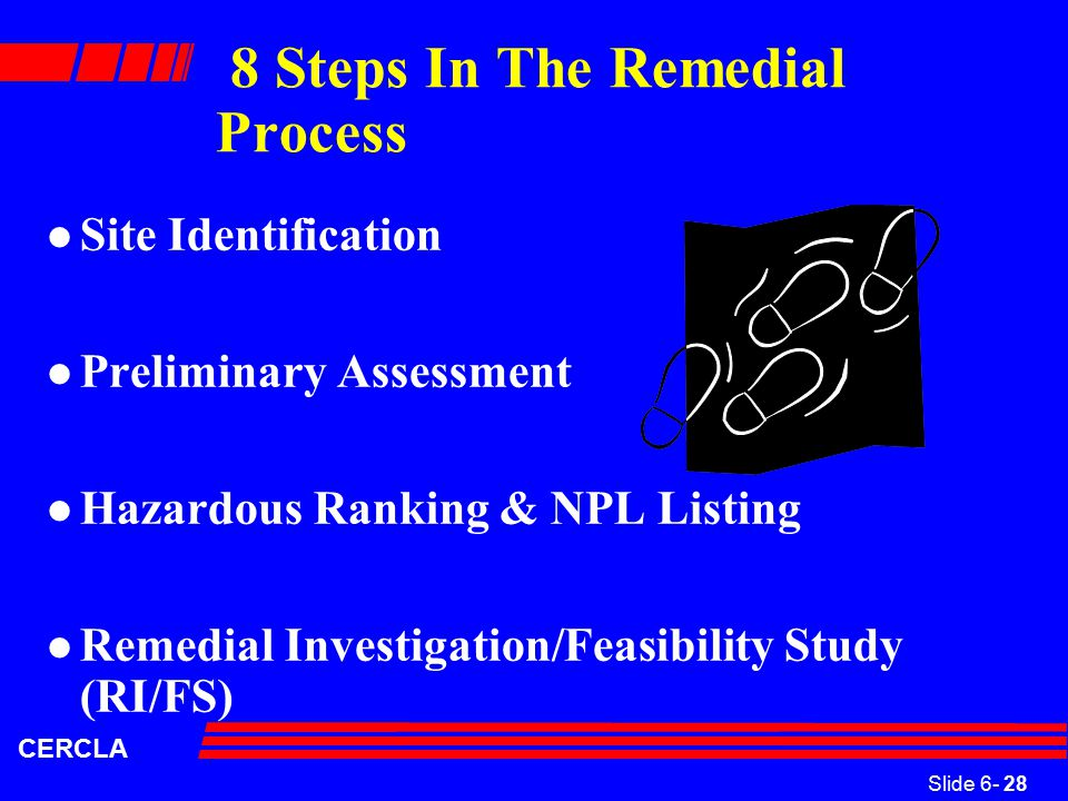 Slide 6- 28 CERCLA 8 Steps In The Remedial Process l Site Identification l Preliminary Assessment l Hazardous Ranking & NPL Listing l Remedial Investigation/Feasibility Study (RI/FS)