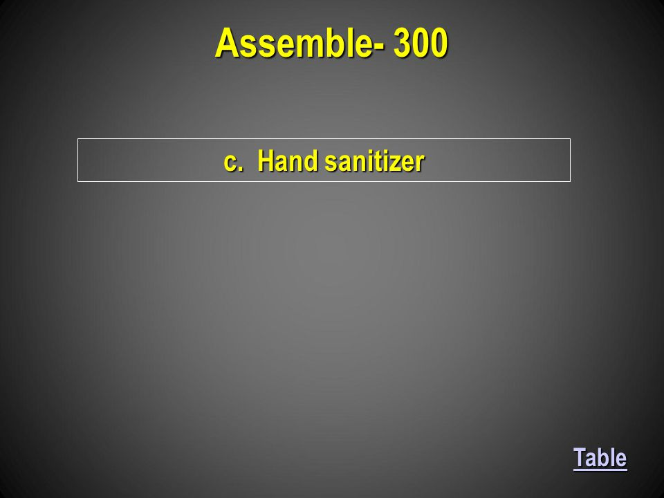 c. Hand sanitizer Assemble- 300 Table
