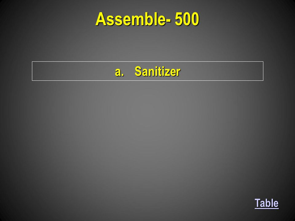 a.Sanitizer Assemble- 500 Table