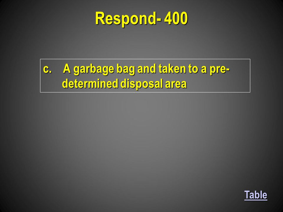 c. A garbage bag and taken to a pre- determined disposal area Respond- 400 Table