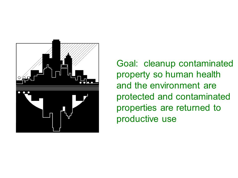 Goal: cleanup contaminated property so human health and the environment are protected and contaminated properties are returned to productive use