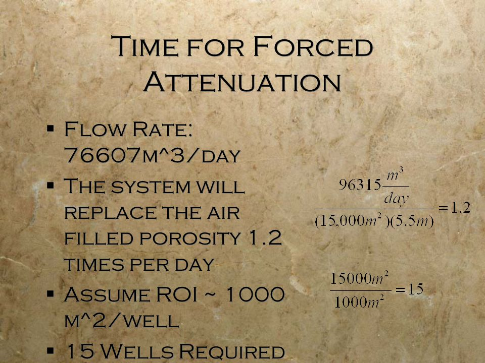  Flow Rate: 76607m^3/day  The system will replace the air filled porosity 1.2 times per day  Assume ROI ~ 1000 m^2/well  15 Wells Required  Flow Rate: 76607m^3/day  The system will replace the air filled porosity 1.2 times per day  Assume ROI ~ 1000 m^2/well  15 Wells Required