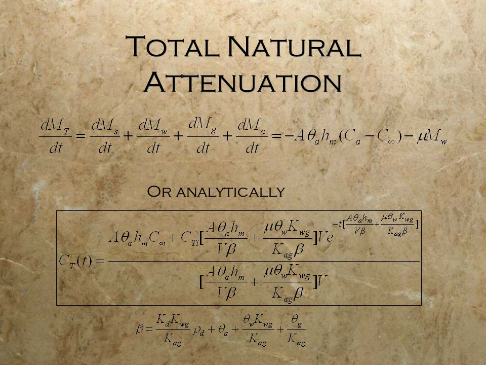 Total Natural Attenuation Or analytically