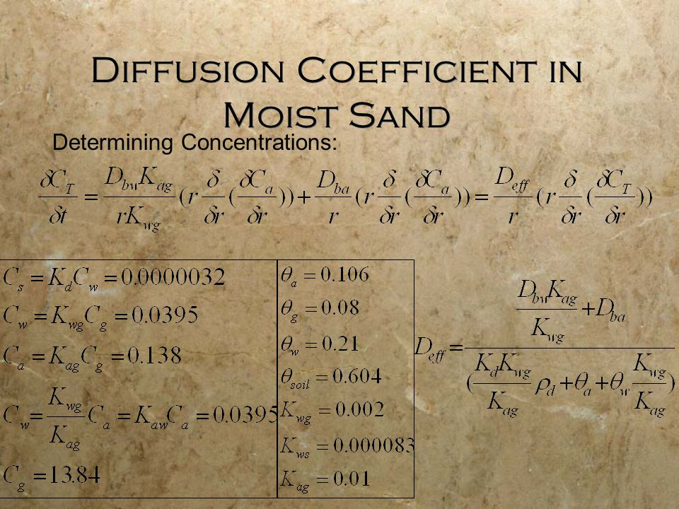 Diffusion Coefficient in Moist Sand Determining Concentrations: