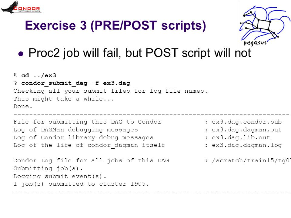 Exercise 3 (PRE/POST scripts) Proc2 job will fail, but POST script will not % cd../ex3 % condor_submit_dag -f ex3.dag Checking all your submit files for log file names.