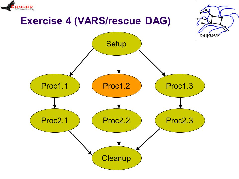 Exercise 4 (VARS/rescue DAG) SetupProc1.1 Proc1.2 Proc1.3Proc2.1Proc2.2Proc2.3Cleanup