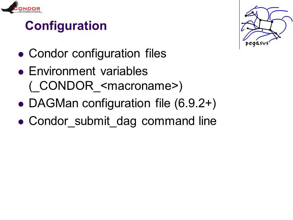 Configuration Condor configuration files Environment variables (_CONDOR_ ) DAGMan configuration file (6.9.2+) Condor_submit_dag command line