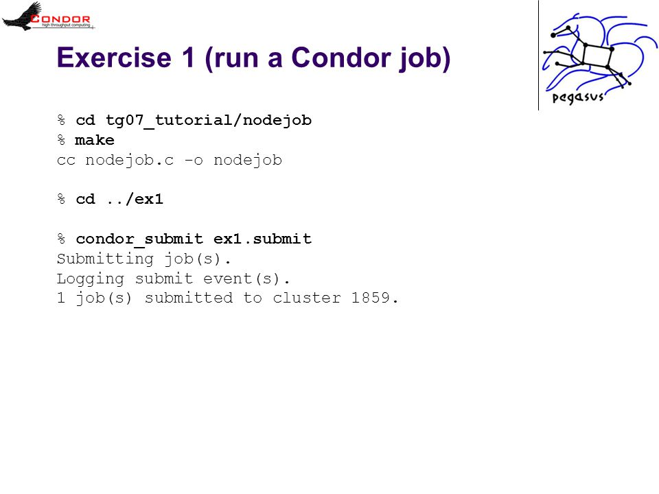Exercise 1 (run a Condor job) % cd tg07_tutorial/nodejob % make cc nodejob.c -o nodejob % cd../ex1 % condor_submit ex1.submit Submitting job(s).