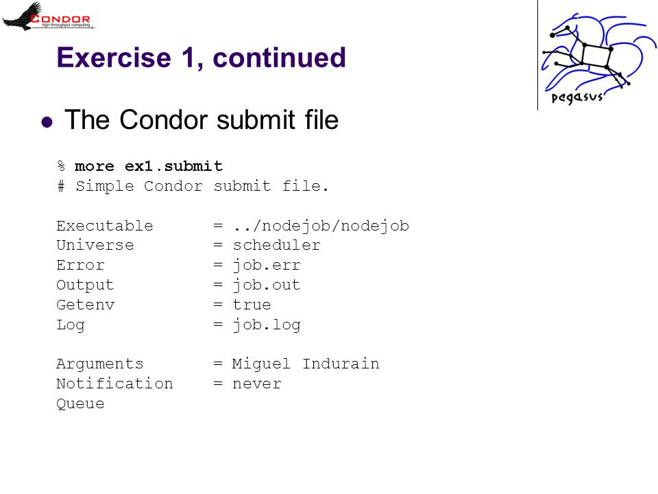 Exercise 1, continued The Condor submit file % more ex1.submit # Simple Condor submit file. Executable =../nodejob/nodejob Universe = scheduler Error