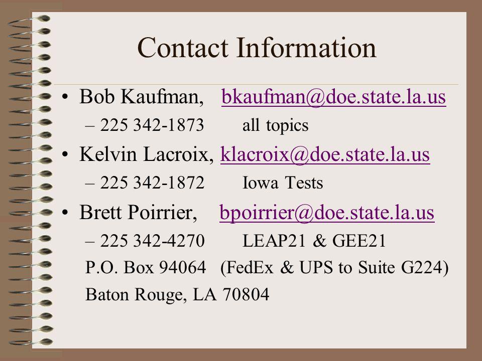 Contact Information Bob Kaufman, bkaufman@doe.state.la.usbkaufman@doe.state.la.us –225 342-1873 all topics Kelvin Lacroix, klacroix@doe.state.la.usklacroix@doe.state.la.us –225 342-1872 Iowa Tests Brett Poirrier, bpoirrier@doe.state.la.usbpoirrier@doe.state.la.us –225 342-4270 LEAP21 & GEE21 P.O.