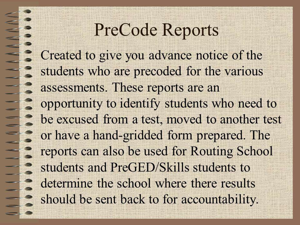 sample precode report