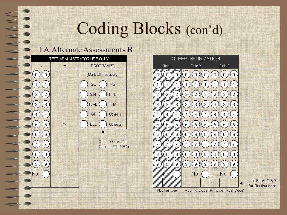 Coding Blocks (con'd) LA Alternate Assessment