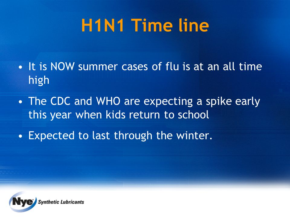 H1N1 Time line It is NOW summer cases of flu is at an all time high The CDC and WHO are expecting a spike early this year when kids return to school E