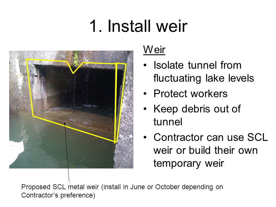 1. Install weir Weir Isolate tunnel from fluctuating lake levels Protect workers Keep debris out of tunnel Contractor can use SCL weir or build their