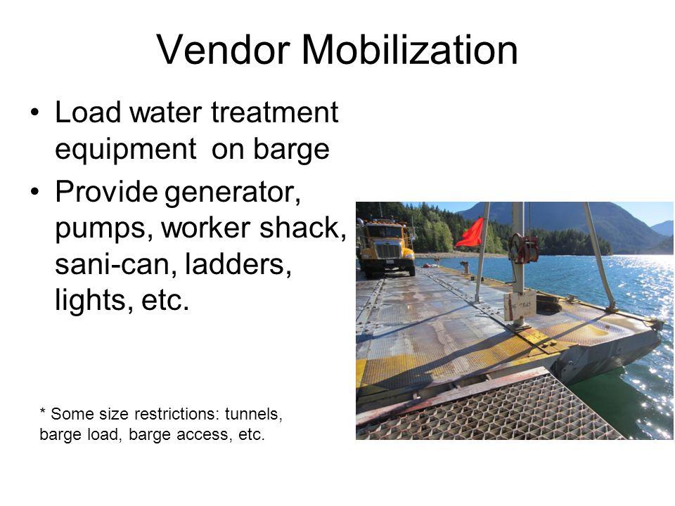 Vendor Mobilization Load water treatment equipment on barge Provide generator, pumps, worker shack, sani-can, ladders, lights, etc. * Some size restri
