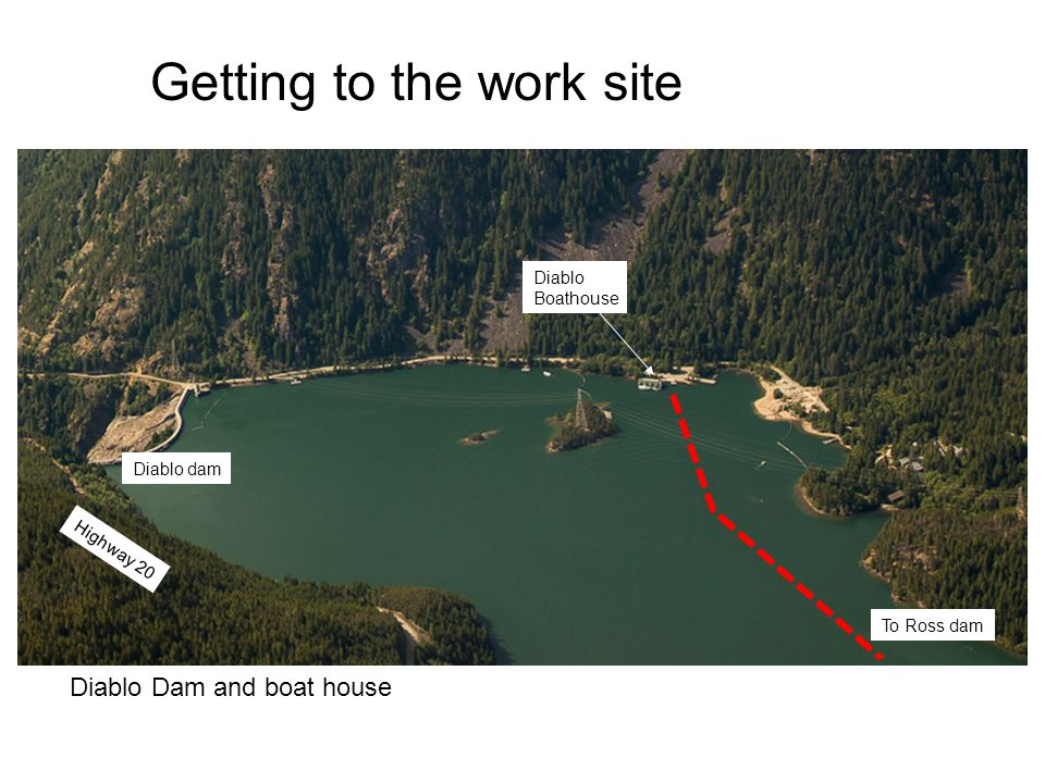Diablo dam Diablo Boathouse Diablo Dam and boat house Highway 20 To Ross dam Getting to the work site
