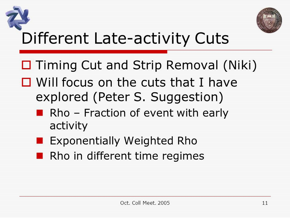 Oct. Coll Meet. 200511 Different Late-activity Cuts  Timing Cut and Strip Removal (Niki)  Will focus on the cuts that I have explored (Peter S. Sugg