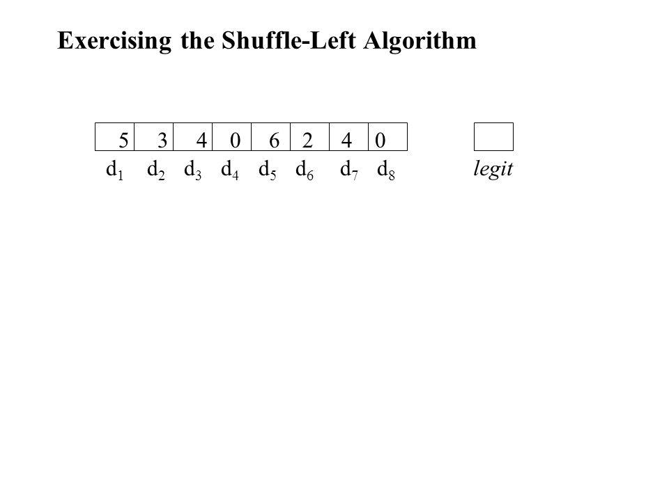Exercising the Shuffle-Left Algorithm d 1 d 2 d 3 d 4 d 5 d 6 d 7 d 8 5 3 4 0 6 2 4 0 legit