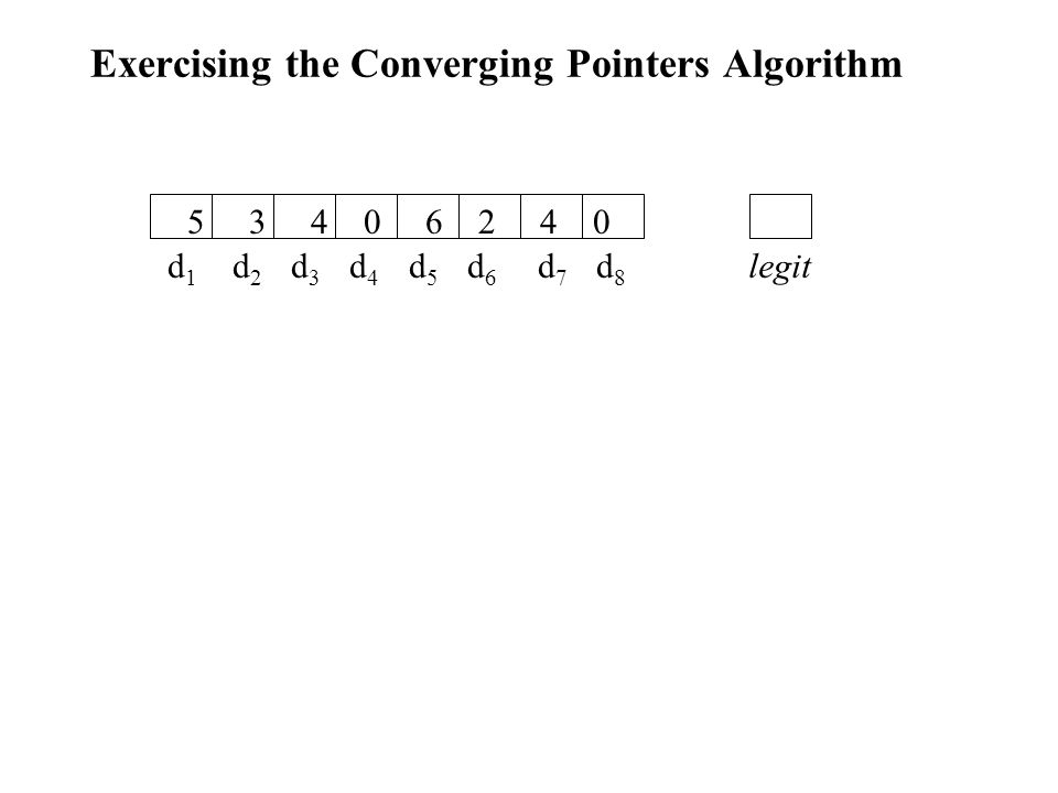 Exercising the Converging Pointers Algorithm d 1 d 2 d 3 d 4 d 5 d 6 d 7 d 8 5 3 4 0 6 2 4 0 legit