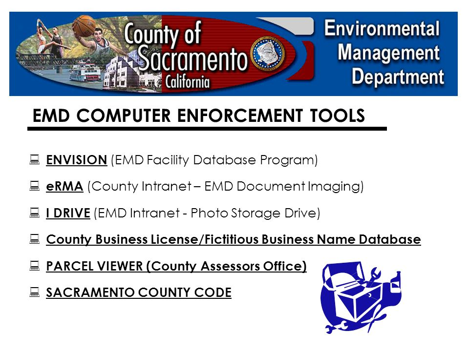 SACRAMENTO COUNTY ENFORCEMENT HISTORY  89 Administrative Enforcement Orders Issued in FY 05/06  Hazardous Waste/Combined = 44  Underground Storage Tank = 31  Hazardous Materials Business Plan = 13  Risk Management Plan (RMP) = 1  Four Appeals in Last Three FY's :  Three AEO's appealed to an Administrative Law Judge  One AEO appealed to County Hearing Officer