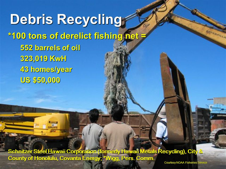 Debris Recycling *100 tons of derelict fishing net = 552 barrels of oil 323,019 KwH 43 homes/year US $50,000 Schnitzer Steel Hawaii Corporation (forme
