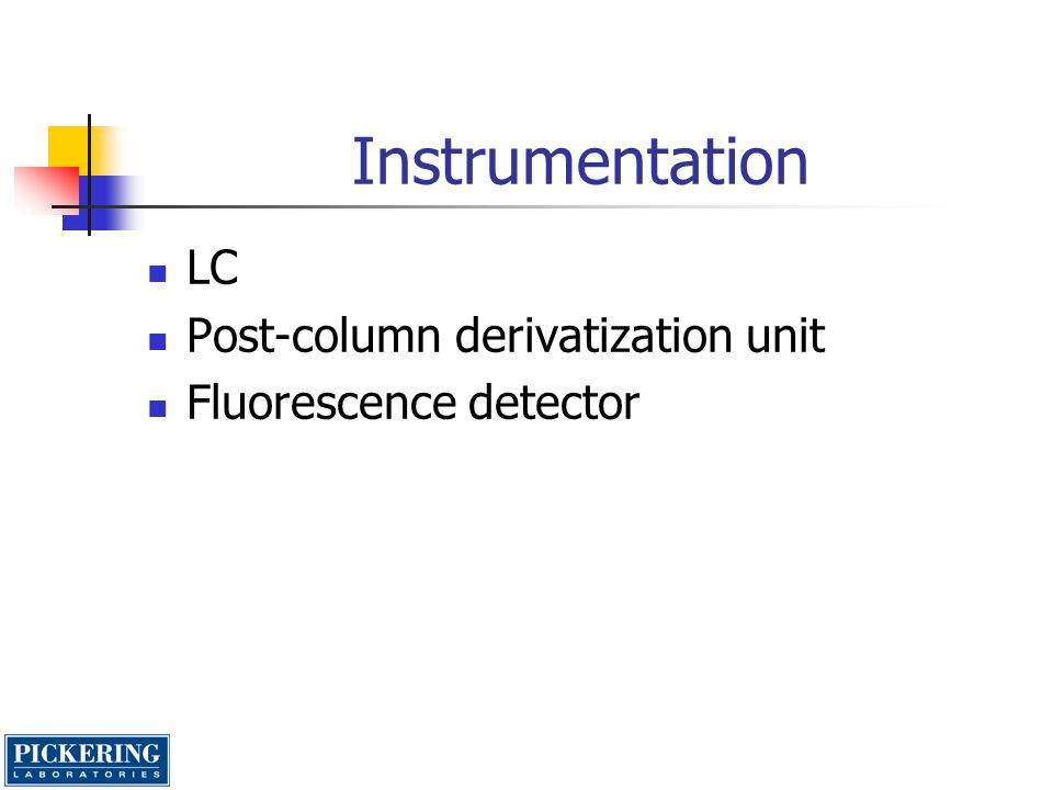 Instrumentation LC Post-column derivatization unit Fluorescence detector