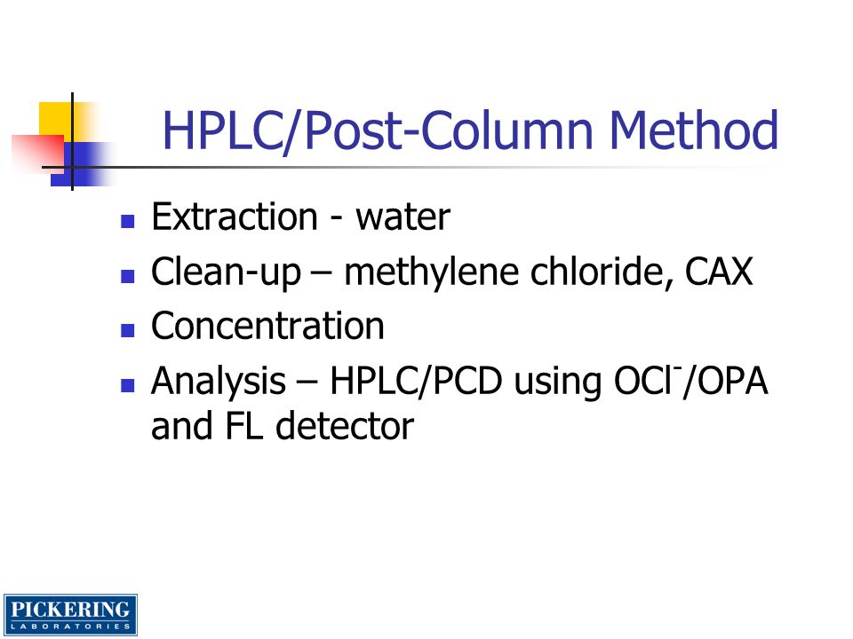 Reagents/Equipment Sample preparation Methylene chloride Acidic modifier solution(mixture of KH 2 PO 4,, H 2 O, Methanol, HCl) CAX eluant (mixture of water, HCl and Methanol) CAX column(Pickering or Bio-Rad) LC Potassium eluant (K200), potassium regenerant (RG019) Cation exchange analytical column(Cat.#1954150) Cation exchange guard column(Cat.# 1953020) Post-column Reagent 1 – 100uL of 5% sodium hypochlorite solution in 950 mL of hypochlorite diluent(GA116) Reagent 2 – 100 mg of OPA(Cat.#O120) and 2 g Thiofluor(Cat.#3700-2000) in 950 mL of OPA diluent(GA104 )