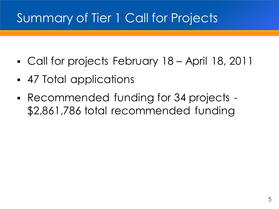 August 2011 Board of Directors Actions  Approved Tier 1 programming recommendations for M2 Environmental Cleanup Program  Authorized allocation of funds through the Comprehensive Transportation Funding Program master funding agreement 6