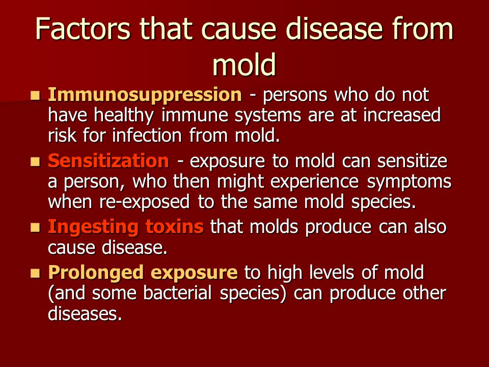 Health effects of mold exposure Generally, undisturbed mold is not a substantial health hazard to most people.