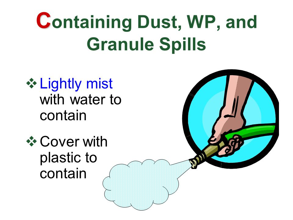 C C ontaining Dust, WP, and Granule Spills  Lightly mist with water to contain  Cover with plastic to contain