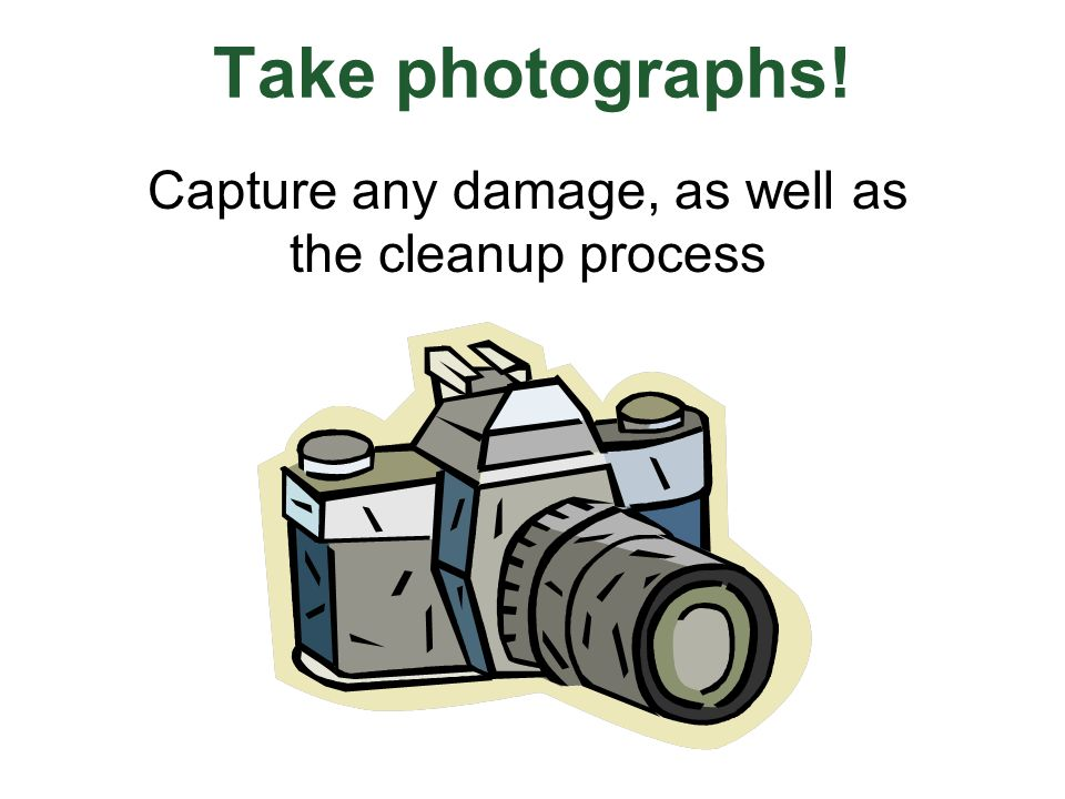 Take photographs! Capture any damage, as well as the cleanup process
